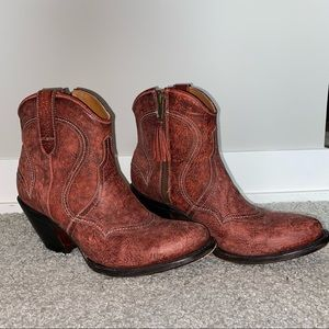 Lucchese Red Leather Western Ankle Heeled Boots